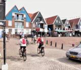 Cyclists cycle into Volendam